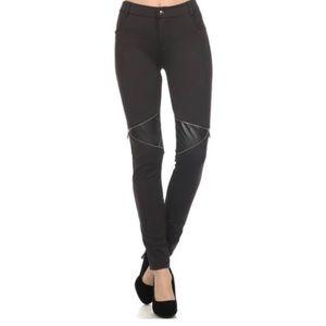 Pants - Boutique Black Faux-Leather Panel Leggings sz L